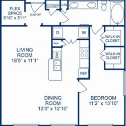 Camden City Center Houston Apartments 1 Bedroom, 945ft² Floorplan