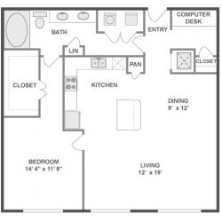 AMLI City Vista Houston Montrose Apartments 1 bedroom, 951ft² floorplan