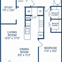 Camden City Center Houston Apartments 1 Bedroom, 958ft² Floorplan