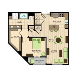 The Susanne Houston Montrose Apartments 1 bedroom, 960ft² floorplan