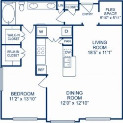 Camden City Center Houston Apartments 1 Bedroom, 965ft² Floorplan