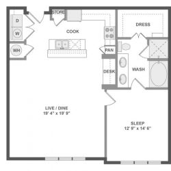 AMLI River Oaks Houston Montrose Apartments 1 bedroom, 966ft² floorplan