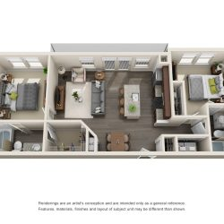 Jefferon Heights Houston Montrose Apartments 2 bedroom, 970ft² floorplan