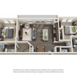 Jefferon Heights Houston Montrose Apartments 2 bedroom, 970ft² floorplan