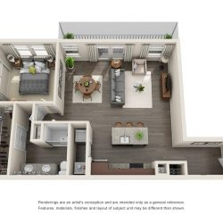 Jefferon Heights Houston Montrose Apartments 1 bedroom, 973ft² floorplan