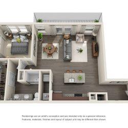 Jefferon Heights Houston Montrose Apartments 1 bedroom, 973ft² floorplan