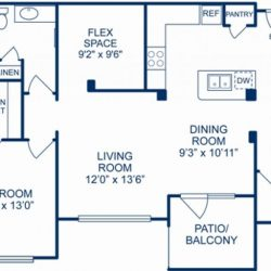 Camden City Center Houston Apartments 1 Bedroom, 975ft² Floorplan