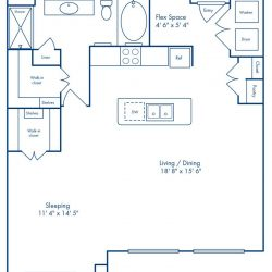Camden City Center Houston Apartments 1 Bedroom, 977ft² Floorplan