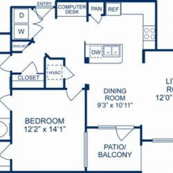 Camden City Center Houston Apartments 1 Bedroom, 988ft² Floorplan