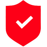 A red vector image of a check mark
