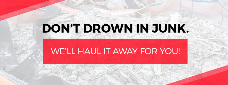 """A CTA banner that reads """"Don't Drown in Junk. We'll Haul it Away For You!"""""""