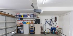The interior of a two-car garage.