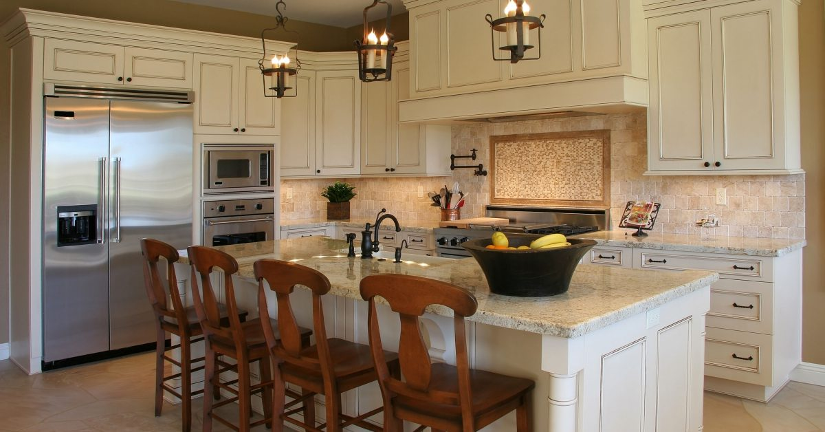 modern kitchen with natural stone countertops and island top