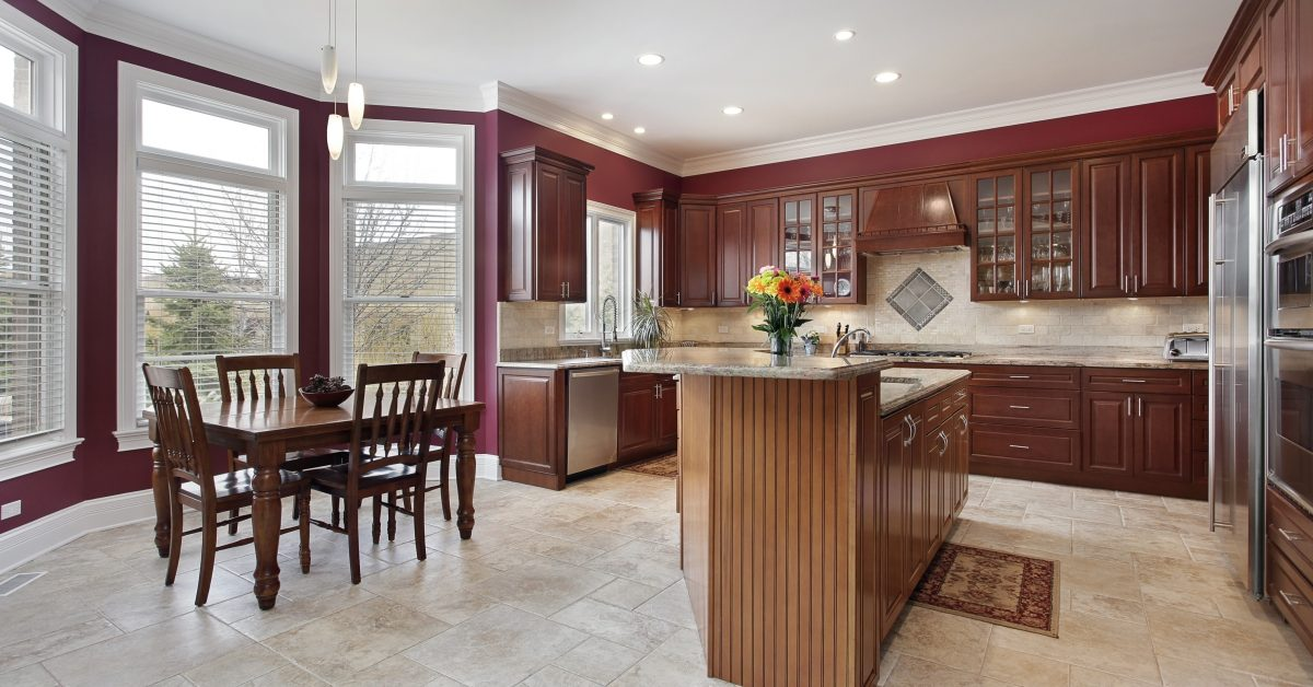 granite countertops and island in modern kitchen