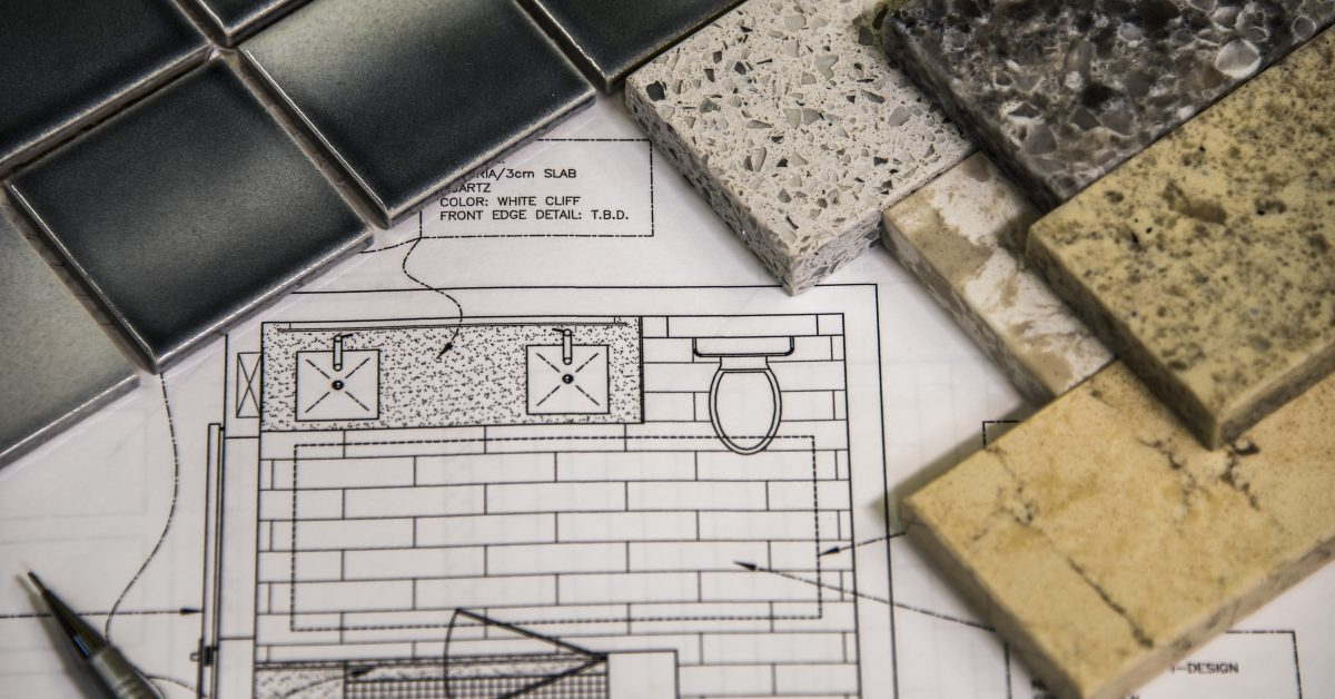 architectural plans and stone samples similar to what we offer our customers at A Polished Finish