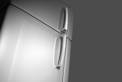 3D very realistic efrigerator door with two magnets and two white surfaces like photo o post-it papers