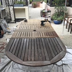 Outdoor Dining Table Refinish in Progress