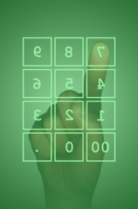 Touch screen numeric keypad and hand