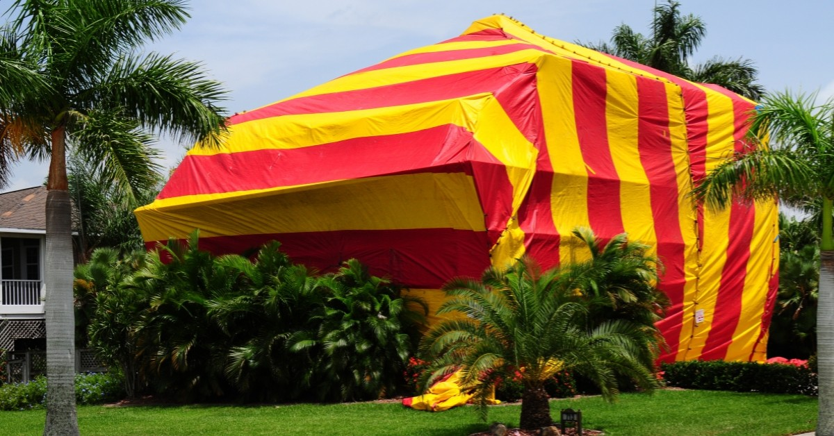 Termite Fumigation Tent on a Home