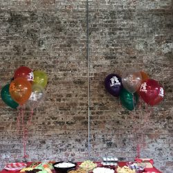 Image of a snack table and party balloons at the Art Farm NYC.