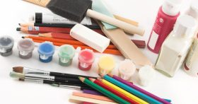 Close-up photo of collection of art supplies.