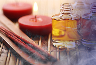 Ritual oils, candles, and incense used for psychic readings at Astrology Boutique in Chicago.