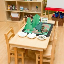 A craft table at Strong Start Early Learning Center