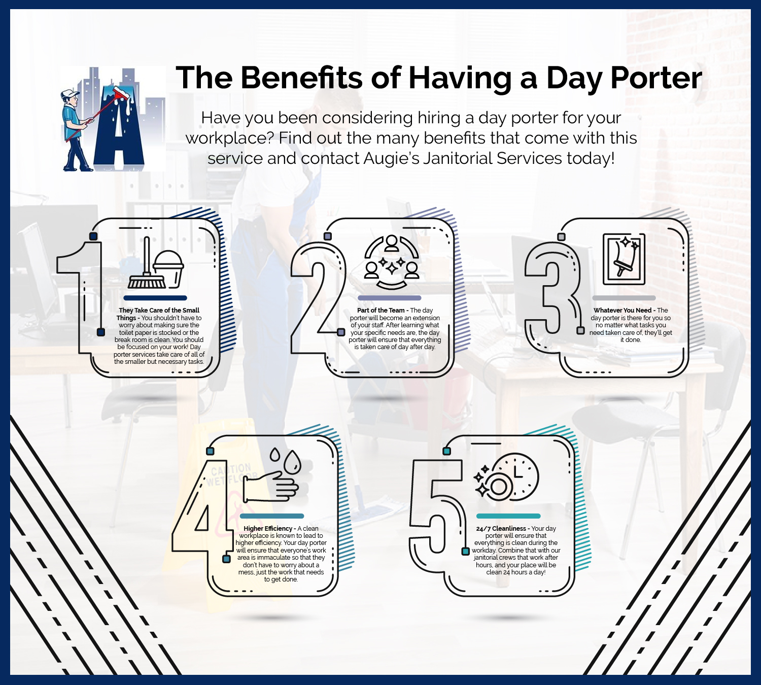 The Benefits of Day Porter Services - Blog and News for Augie's Building Services - Augies-IG-Benefits-of-Day-Porter-01-5c9d3396c0378