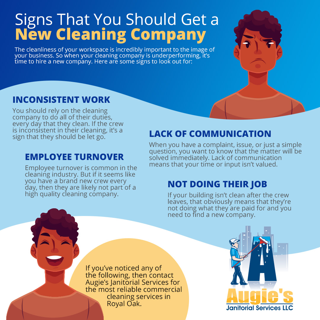 Signs That You Need a New Cleaning Company - Blog and News for Augie's Building Services - infographics-signs-5cb5de40011eb