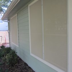 Beige Sun Screen Fabric On Windows - Austin Shade Team