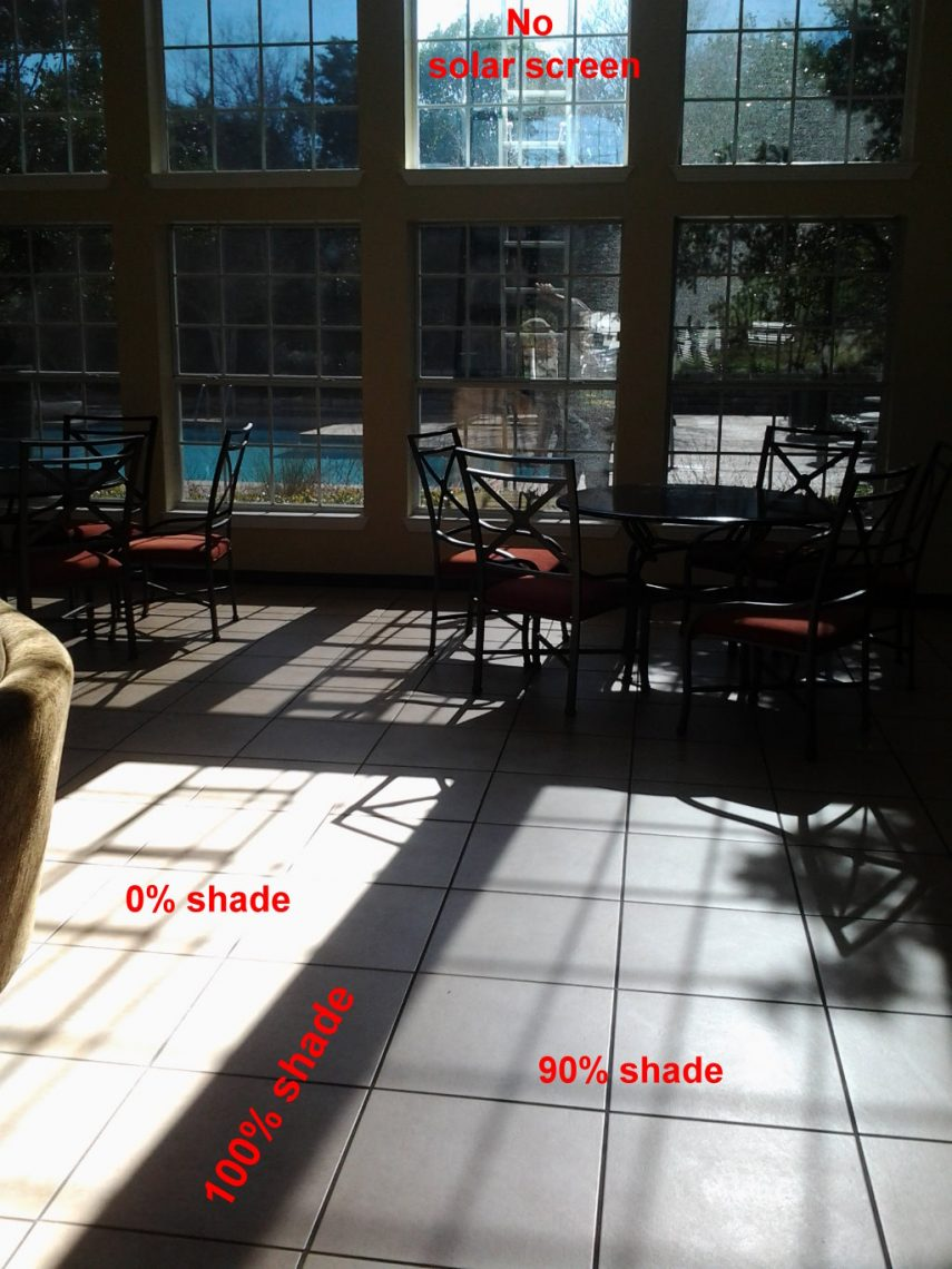 90% solar screens, interior view