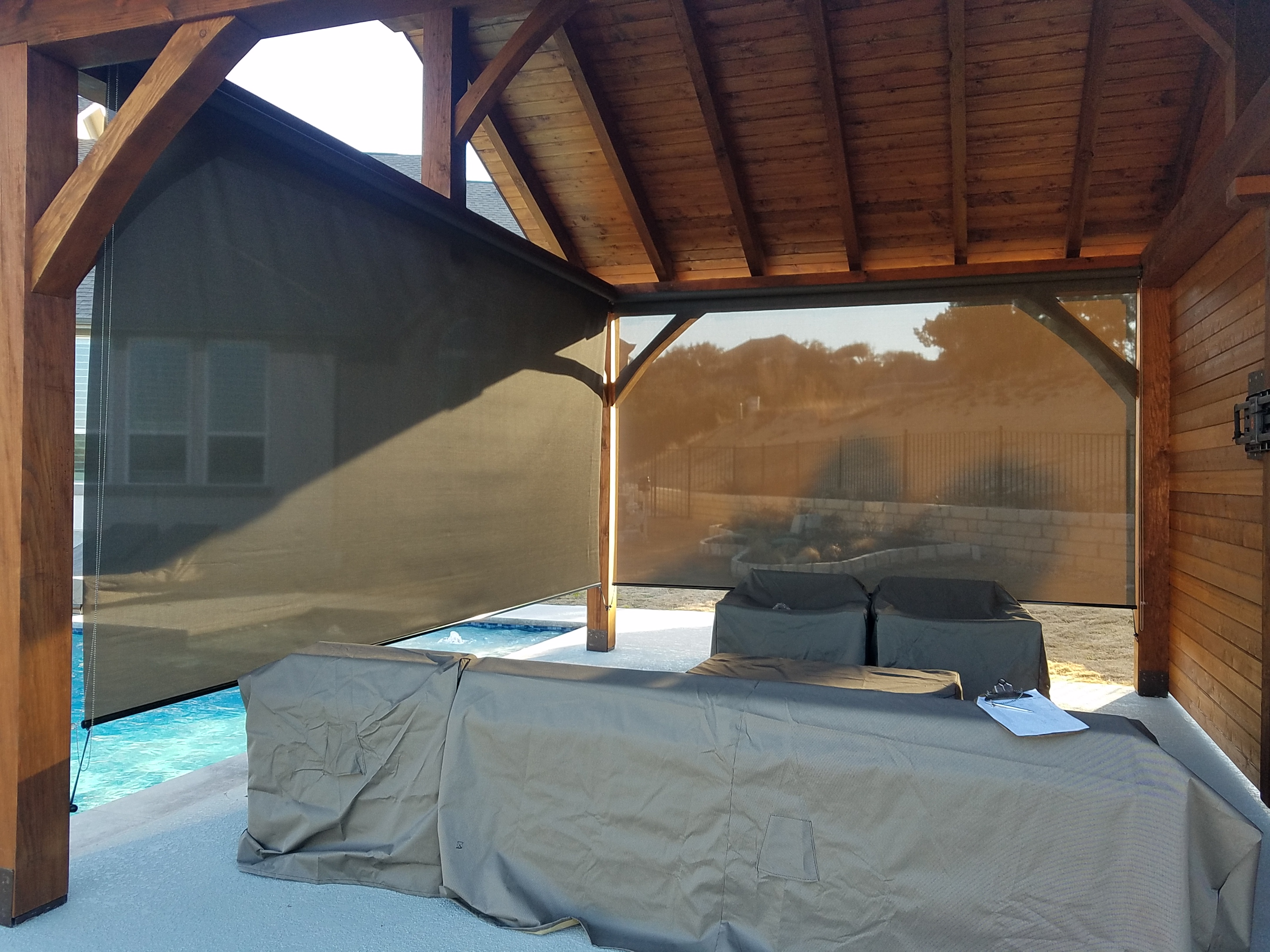 Inside view of patio with roller shades