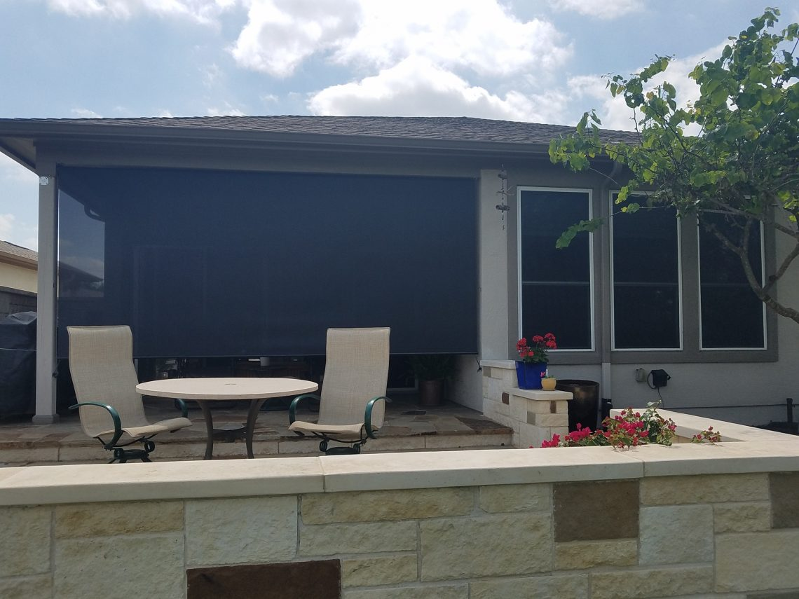 Patio roller shade and solar screens for windows