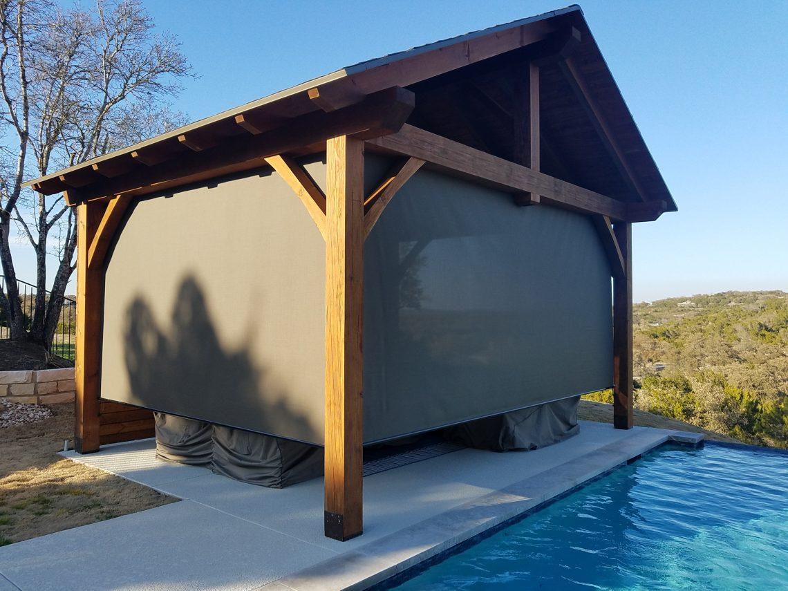 West Austin $1200 outdoor shade for porch installation.