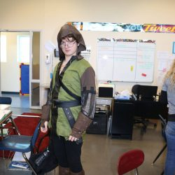 Taking advantage of the Halloween spirit, this boy dresses up at a school for autistic children.