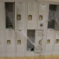 Decorations are put up at an autism school to celebrate Halloween.