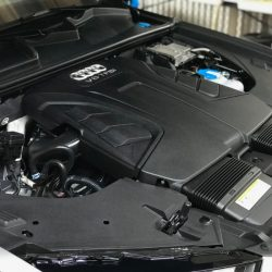 Motor of an Audi after luxury auto detailing from Shea's Luxury Detail