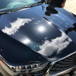 Shiny hood on a black Acura after luxury auto detailing in Honolulu