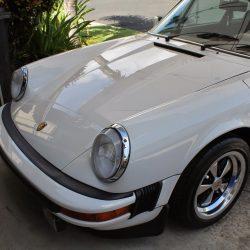 Luxury auto detailing for an old white Porsche