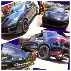 Black Porsche Cayenne with luxury auto detailing services in Honolulu