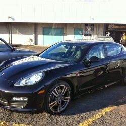 Luxury auto detailing for a black Porsche