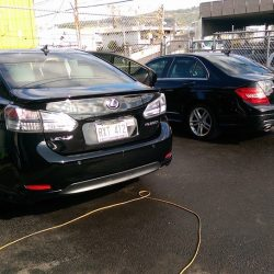 Auto detailing in Honolulu for a black Lexus and Acura