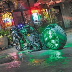 Custom motorcycle with luxury motorcycle detailing in Honolulu
