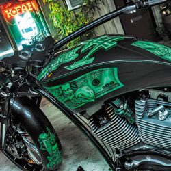 Motorcycle detailing on money themed motorcycle