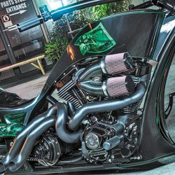 Custom motorcycle with luxury auto detailing