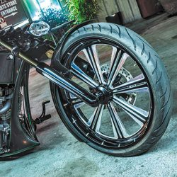 Motorcycle detailing for custom black motorcycle