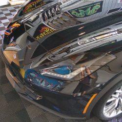 Luxury auto detailing for a black Corvette