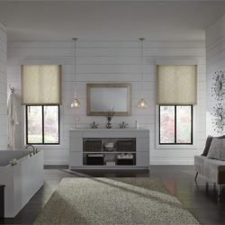 White, wooden bathroom with tan shades lowered Automated Lights and Shades Manhattan