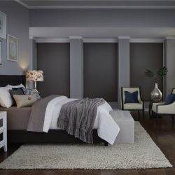 Gray bedroom with dark gray shades closed Automated Lights and Shades Manhattan
