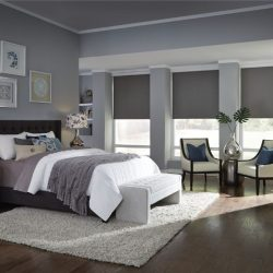 Gray bedroom with dark gray shades lowered Automated Lights and Shades Manhattan